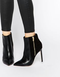 Image 1 of ASOS ECUADOR Wide Fit Pointed High Ankle Boots