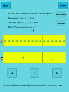 Each number bond is presented in the context of a word  problem. After mastering sums up to 20 (14 activities), kids explore similar patterns with sums up to 100 (13 activities), for 10 levels in all. There is no option to have the app read the problems aloud. In numbers to 20, there is a picture and a bar hint, in numbers to 100, just some bar hints. After the beginning levels, three possible answers are given.