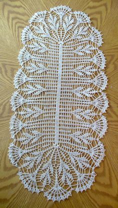 Handmade Ecru Long Crochet Table Runner: Buckeye