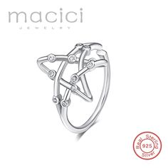 Star Adjustable Finger Ring For Women Wedding 100% 925 Sterling Silver Jewelry 2017 New Collection  DK122 #Affiliate