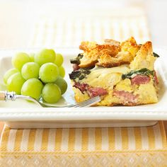 Our tasty Ham-Asparagus Strata is filled with savory Swiss cheese. More #breakfast #casseroles: http://www.bhg.com/recipes/breakfast/brunch/stratas-frittatas-and-omelets/?socsrc=bhgpin121412hamstrata=8