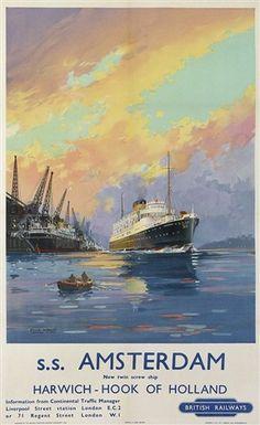 'Harwich - Hook of Holland', British Railways poster, c 1950s., 17