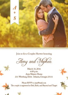 Fall Fun Couple Shower Invitations. Add  photo and change match your colors for an instant online preview.