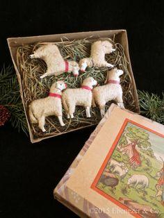 Antique Boxed Set of Five German Putz Sheep, Original Graphics