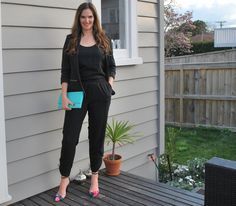 #WIWT for #NZFW day one (nighttime edition) Decjuba jumpsuit, Jacqui E blazer, Portmans clutch and Boohoo.com shoes