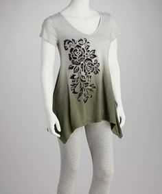 Take a look at this Olive Ombre Sidetail Tunic - Women by CottyOn on #zulily today!