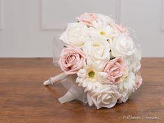 Rose & Mini Gerbera Bridesmaids Posy Bouquet Daisy Bouquet Wedding, Gerbera Wedding, Small Wedding Bouquets, Silk Bridal Bouquet, Wedding Flowers, Bridal Bouquets, Wedding Dress, Gerbera Bouquet, Pastel Bouquet