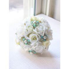 Mint Bridesmaid Bouquet, Mint Bouquet, Jewelry Bouquet, Brooch Bouquet, Mint Wedding, Ivory Bouquet, Bridal Bouquet, Bridesmaids WBQ11-MT