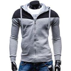 Hooded Color Block Splicing Design Zip-Up Hoodie
