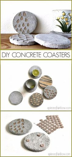 43 DIY concrete crafts - DIY Concrete Coasters With Decorative Inserts - Cheap and creative countertops and ideas for floors, patio and porch decor, tables, planters, vases, frames, jewelry holder, home decor and DIY gifts.  http://diyjoy.com/diy-concrete-crafts-projects