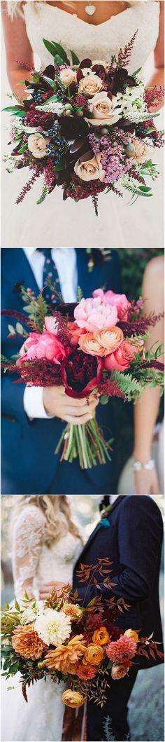shades of orange fall wedding bouquet ideas_2