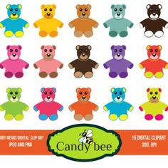 Cute, soft and colorful teddy bears for your loved ones! A wonderful set of 15 teddy bear cliparts as Teddy Bears Digital Cliparts. In 15 different colors, each one designed and isolated.