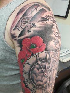 ☮ * ° ♥ ˚ℒℴѵℯ cjf Army Tattoos, Military Tattoos, Poppy Tattoo Sleeve, Sleeve Tattoos, Lion Forearm Tattoos, Body Art Tattoos, Lest We Forget Tattoo, Tattoo Ideas, Tattoo Designs