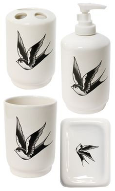 Keep your bathroom neat & organized with a little bit of flash! This bath set includes a hand painted traditional black & white sparrow on a ceramic toothbrush holder, soap dispenser, rinse cup & soap dish.    $16.00