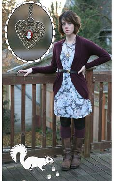 Get this look: http://lb.nu/look/2789089  More looks by Kaelee Butner: http://lb.nu/kaeleeb  Items in this look:  Cameo The Label Vintage Cameo Neckalce, Boots, Target Cardigan, Target Dress, Knee High Socks