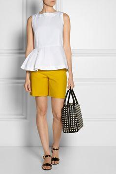 Marni|Asymmetric pleated cotton-blend peplum top|Chloe | High-rise stretch wool-blend shorts | Marni | Metallic-trimmed leather sandals | Marni | Woven leather and raffia bowling bag