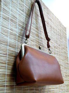 Leather frame clutch purse / bridesmaid gift  by FREDAhandmade
