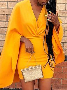 Shop Bodycon Dresses Deep V Ruched Cape Design Bodycon Dress Short African Dresses, Latest African Fashion Dresses, African Print Dresses, African Print Fashion, Short Dresses, Classy Dress, Classy Outfits, Chic Outfits, Fashion Outfits