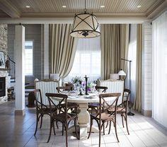 Архитектор добавил комнатам симметрии, прибегнув к минимальной перепланировке. И оформил интерьер в стиле прованс – лаконичную отделку стен и пола здесь компенсирует изящная мебель и текстиль