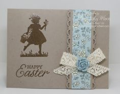 Stampin' Up! ... handmade Easter card from Stamp Pad Creations ... kraft base with brown inking ... silhouette girl with Easter basket ... luv the matted band of designer paper ... crochet ribbon bow topped with sculpted rose ...