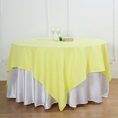 """90"""" Yellow Square Polyester Table Overlay Spring Wedding Decorations, Spring Wedding Colors, Table Decorations, Parties Decorations, Floral Tablecloth, Mothers Day Decor, Table Overlays, Chair Sashes"""
