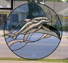 DOLPHIN PANEL Stained Glass 2 DOLPHINS with Bevels | eBay