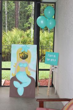 For when Andie has her first Ariel birthday party! Mermaid birthday party face in the hole Little Mermaid Birthday, Little Mermaid Parties, 6th Birthday Parties, Birthday Fun, Birthday Ideas, Mermaid Birthday Party Ideas, Mermaid Party Games, Third Birthday, Deco Disney