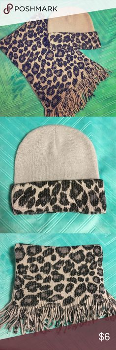 """NWOT Snow Leopard Hat & Scarf Set NWOT beautiful snow leopard set - scarf measures 63"""" from end to end and can be worn on either leopard side or sparkly silver side - hat would comfortably fit any size - both pieces have never been worn Accessories Scarves & Wraps"""