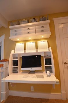Amazon.com - Prepac White Floating Desk with Storage