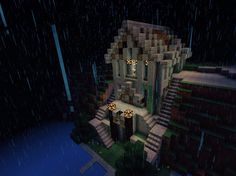 Fantasy Islands With Abandoned Castle And Steampunk Village - Minecraft pe coole hauser