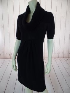 AQUA Cashmere Sweater Dress S Black Cowl Neck Pullover Short Sleeve Soft Fuzzy CHIC LBD!