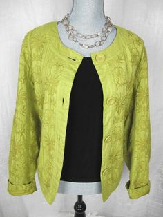 CHICOS 3 Jacket Top Green Floral Embroidered Cotton Button Up Blazer #chicos#jacket#style#fashion#trend#deal