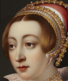 Detail - 'Portrait of a young woman called Anne Boleyn', by Henry Pierce Bone, c.1835. Enamel on cooper; 13.5 x 11.5cm. This is the best depiction of her I have seen - it truly shows that she was a beauty.