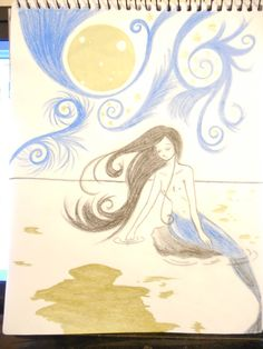 mermaid,moon,sea