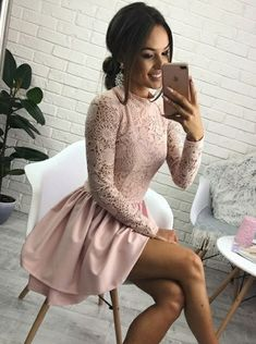 A-Line Round Neck Long Sleeves Pink Satin Short Homecoming Dress with Lace M5067