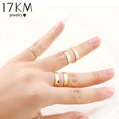 17 KM Top Verkäufe Farbe Mode Punk Trendy Einfache Knuckle Öffnen Ring Sets Frauen Schmuck Großhandel weihnachtsgeschenke
