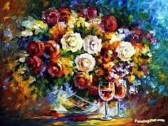 Roses and wine Artwork by Leonid Afremov Hand-painted and Art Prints on canvas for sale,you can custom the size and frame
