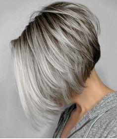 Inverted layered gray bob with brown roots gray balayage, balayage bob, sho Grey Bob Hairstyles, Short Bob Haircuts, Short Hairstyles For Women, Swing Bob Hairstyles, Bobbed Haircuts, Female Hairstyles, Trendy Haircuts, Layered Haircuts, Medium Hairstyles
