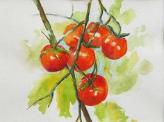 Paintings of Vegetable Gardens   Tomatoes Vegetable Garden Original Watercolor by PatChoffrut, $125.00
