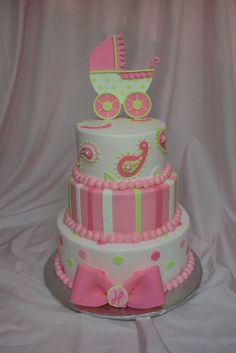 paisley baby shower cakes   gumpaste carriage, fondant decorations and bow, BC base icing. thanks ...