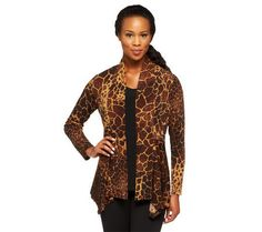 Susan Graver Liquid Knit Printed Cardigan & Tank Set