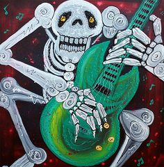 """Skeleton Guitarist ( Music Art, Original Painting )"" - Acrylics on Canvas, in Day Of The Dead Paintings"