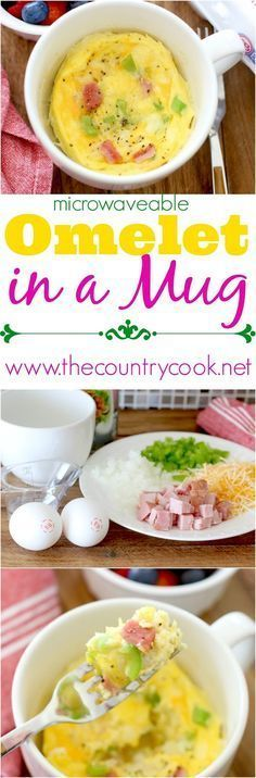 Microwaveable Omelet in a Mug recipe from The Country Cook. It's healthy thanks to the Eggland's Best eggs. The eggs turn out so fluffy and it's all done in about a minute! So good. Perfect for folks doing low carb or busy mornings!