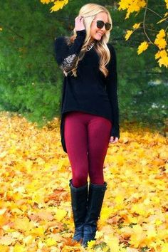 Black sweater long boots with purple leggings