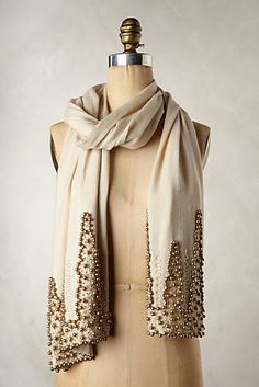 Beaded Soiree Scarf by Anthropologie Neutral Motif One Size Scarves Blusas T Shirts, Fashion Beauty, Womens Fashion, Glamour, Up Girl, Womens Scarves, Fashion Forward, Style Me, Ideias Fashion