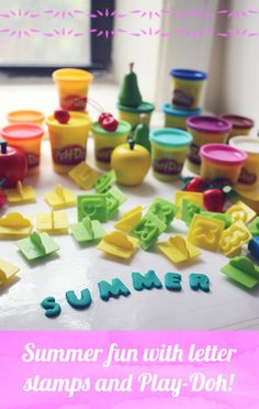 """Summer fun with letter stamps and Play-Doh compound! Use laminated coloring pages to """"color"""" with Play-Doh compound."""