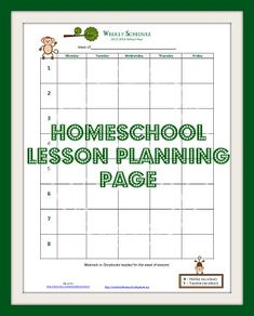 Homeschool Lesson Planning Page | Enchanted Homeschooling Mom | Enchanted Homeschooling Mom