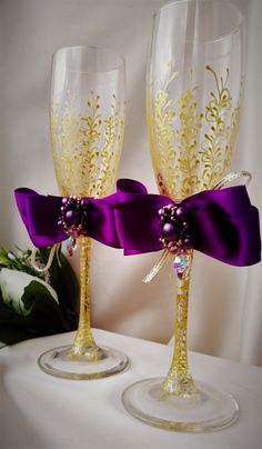 wedding champagne flutes purple wedding by WeddingArtGallery