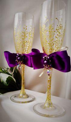 wedding champagne flutes purple wedding by WeddingArtGallery