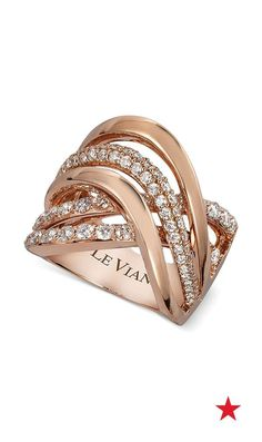 It's time to give your jewelry collection a luxe new look with stunning rose gold designs — Le Vian Vanilla Gladiator weave diamond ring in rose gold